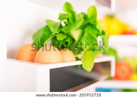 Open fridge, eggs with  fresh green rocca on the shelf of refrigerator door, organic food, healthy nutrition concept - stock photo