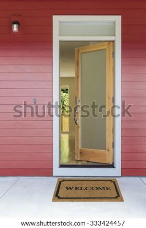 Open front door with welcome mat & Open Front Door Stock Images Royalty-Free Images \u0026 Vectors ... Pezcame.Com