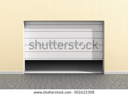 Open garage door at a modern building. Garage concept. - stock photo