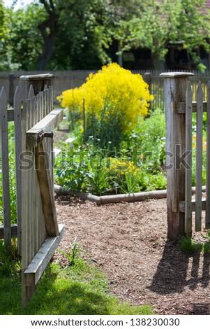 Open gate to a secret garden - stock photo