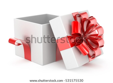 Open gift box and red bow on white background 3d rendering