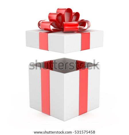 open gift box for Christmas, New Year's Day ,Open red gift box top view white background 3d rendering