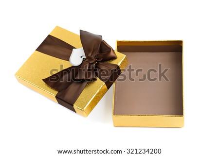 Open Gift box isolated on white - stock photo