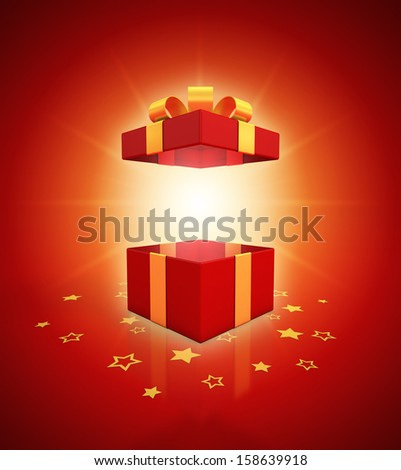 open gift box on red background