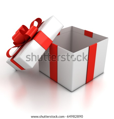 open gift box over white background 3d illustration - stock photo