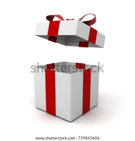 Open gift box present box lid 739843606 shutterstock open gift box present box with lid and red ribbon bow isolated on white background negle Gallery