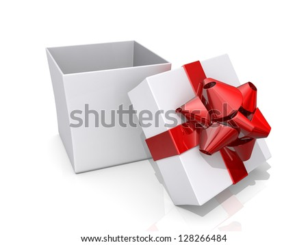 Open gift box with a red ribbon and bow on a shiny white background. - stock photo
