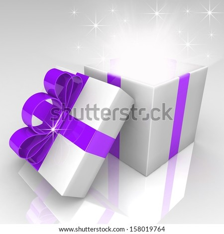 Open gift box with blue bow. 3d illustration. - stock photo