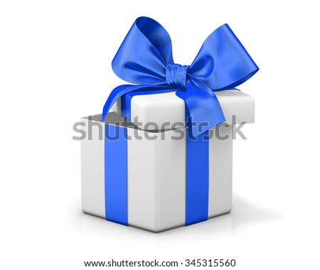 Open gift box with blue bow isolated on white