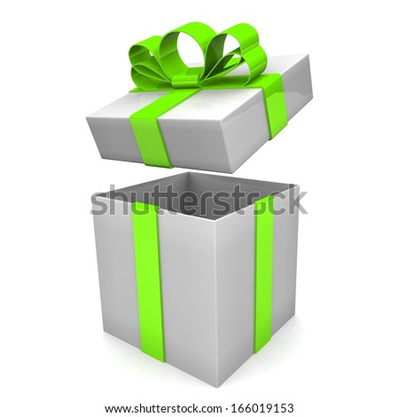 Open gift box with bow. 3d illustration.