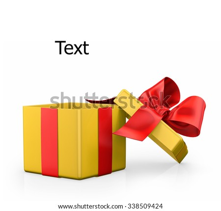 Open gift box with bow isolated on white - stock photo