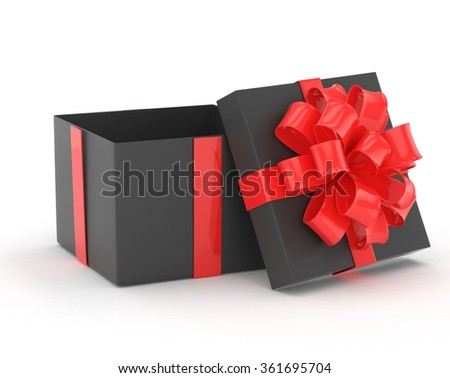 open gift box with bows isolated on white - stock photo