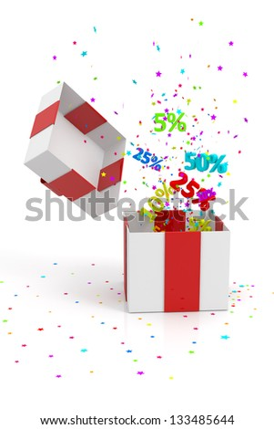 open gift box with discounts and star on white background - stock photo