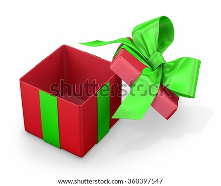 Open gift box with green bow isolated on white