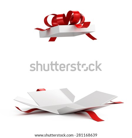 Open gift box red ribbon on 281168639 shutterstock open gift box with red ribbon on white background negle Images