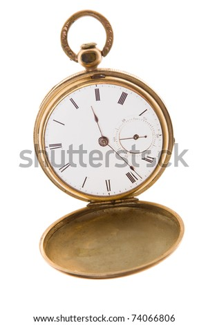 Open gold pocket watch isolated on white.