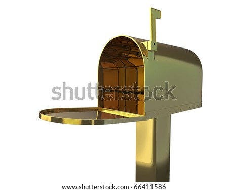 Open golden mailbox with red flag up.