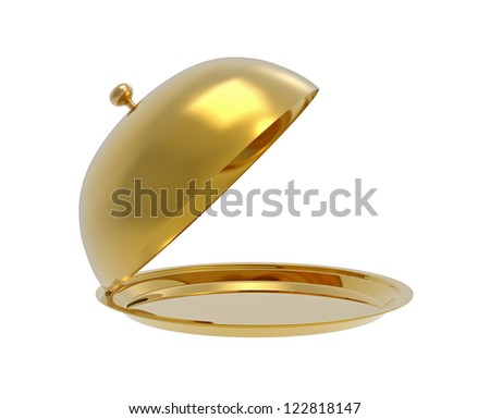 Open, golden tray, isolated on white, 3d render