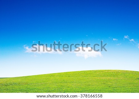 open grassland and sky landscape. field of grass outdoor. Natural background.Environment Day concept. Ecology concept.sustainability - stock photo