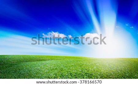 open grassland and sky landscape. field of grass outdoor. Natural background. The concentration of color. - stock photo