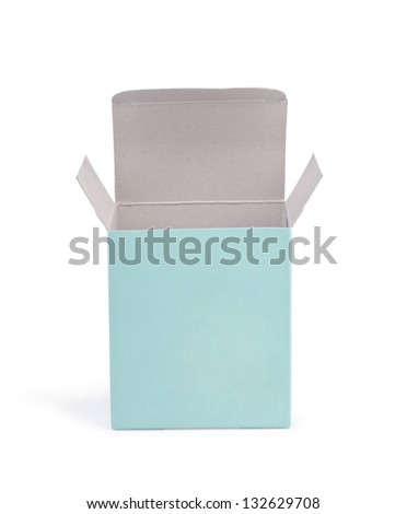 Open green cardboard box on a white background. - stock photo