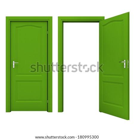 Open green door - stock photo