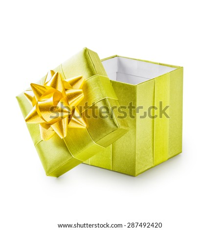 Open green gift box with yellow ribbon bow. Holiday present. Object isolated on white background. Clipping path - stock photo