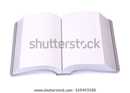 Open grey book with blank white pages and soft cover isolated on white