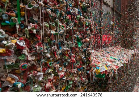 Open - Gum Wall,  Market Theater,  Pike Place Market Seattle - stock photo