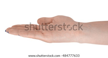 Open hand giving something, middle-aged female's skin, blue manicure. Isolated on white background.
