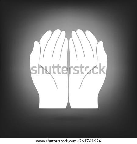 Open hand icon - stock photo