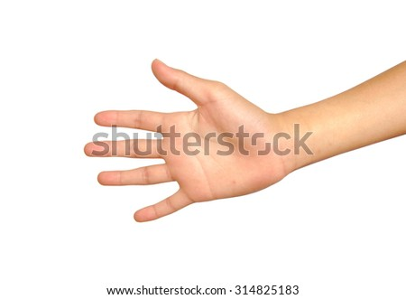 Open hand isolated on a white background
