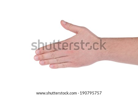 Open hand.  Isolated on the white background.