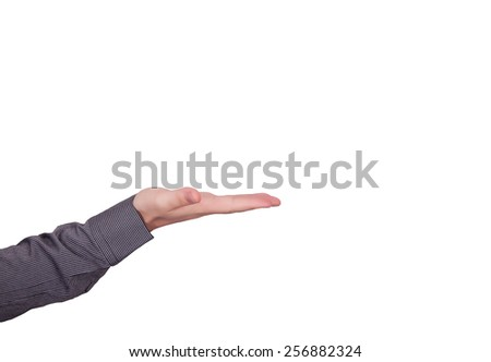 Open hand isolated on white background - stock photo