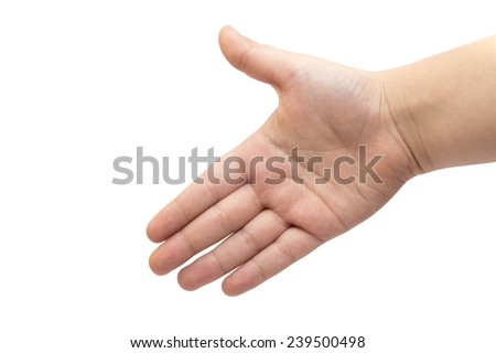 Open hand of child isolated on white background - stock photo
