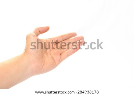 open hand on white background - concept help - stock photo