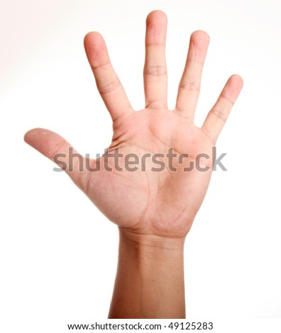Open hand over white background. Isolated image - stock photo