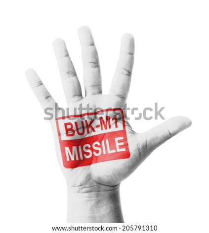 Open hand raised, BUK-M1 Missile sign painted, multi purpose concept - isolated on white background - stock photo