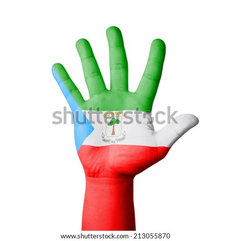 Open hand raised, Equatorial Guinea flag painted - stock photo