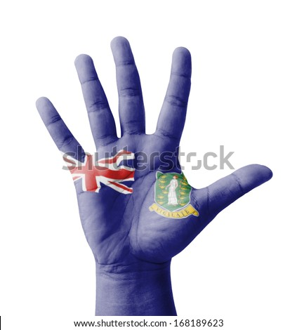 Open hand raised, multi purpose concept, British Virgin Islands flag painted - isolated on white background