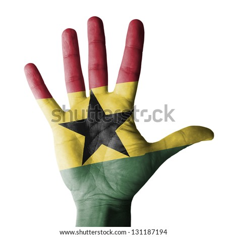 Open hand raised, multi purpose concept, Ghana flag painted - isolated on white background - stock photo