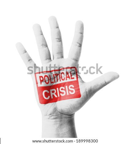 Open hand raised, Political Crisis sign painted, multi purpose concept - isolated on white background - stock photo