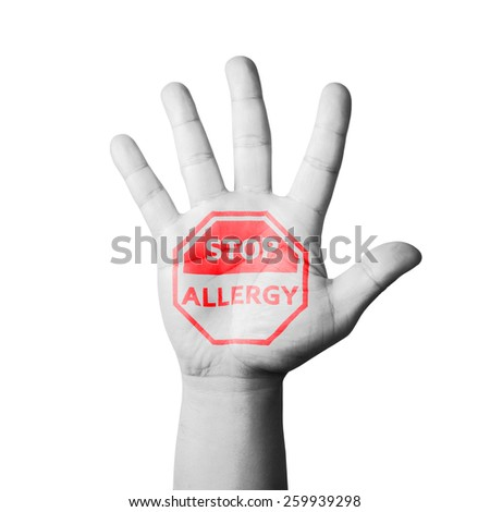 Open Hand Raised, Stop Allergy Sign Painted - stock photo