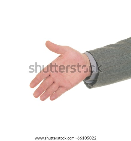Open hand ready to seal a deal, isolated over white - stock photo