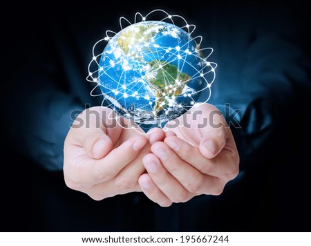 open hand  social buttons  ,Some components of this image are provided courtesy of NASA  - stock photo