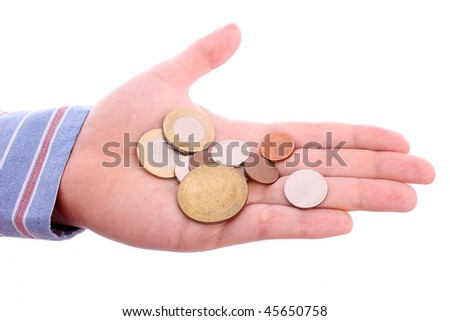 Open hand with coins