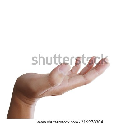 Open hand with White Background