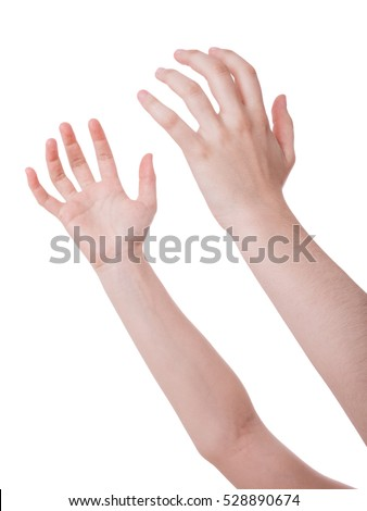 Open hands in the air. Concept for prayer, begging, plea, holding or catching isolated on white background
