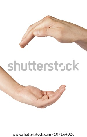 open hands isolated on white background