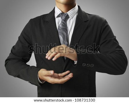 open hands of businessman - stock photo